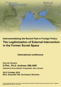 """Conference Apply for """"The Legitimization of External Intervention in the Former Soviet Space"""" conference in Bucharest"""