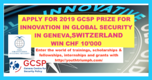 2019 GCSP PRIZE FOR INNOVATION IN GLOBAL SECURITY_Competition_youthtriumph.com